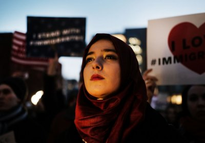 Protesters in New York on January 25 in response to Trump's immigration restrictions.