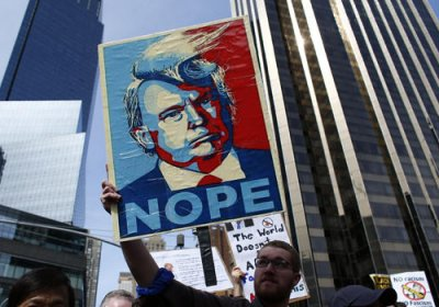 An anti-Trump protest placard.