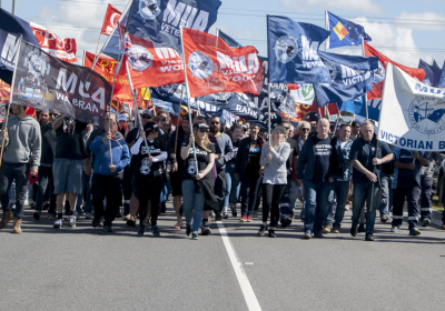 Melbourne unionists closed down Webb Dock in Port Melbourne. Photo: Matt Hrkac