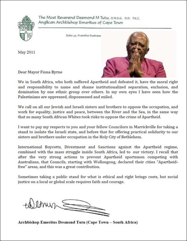 Archbishop Tutu's letter to Marrickville Mayor Fiona Byrne
