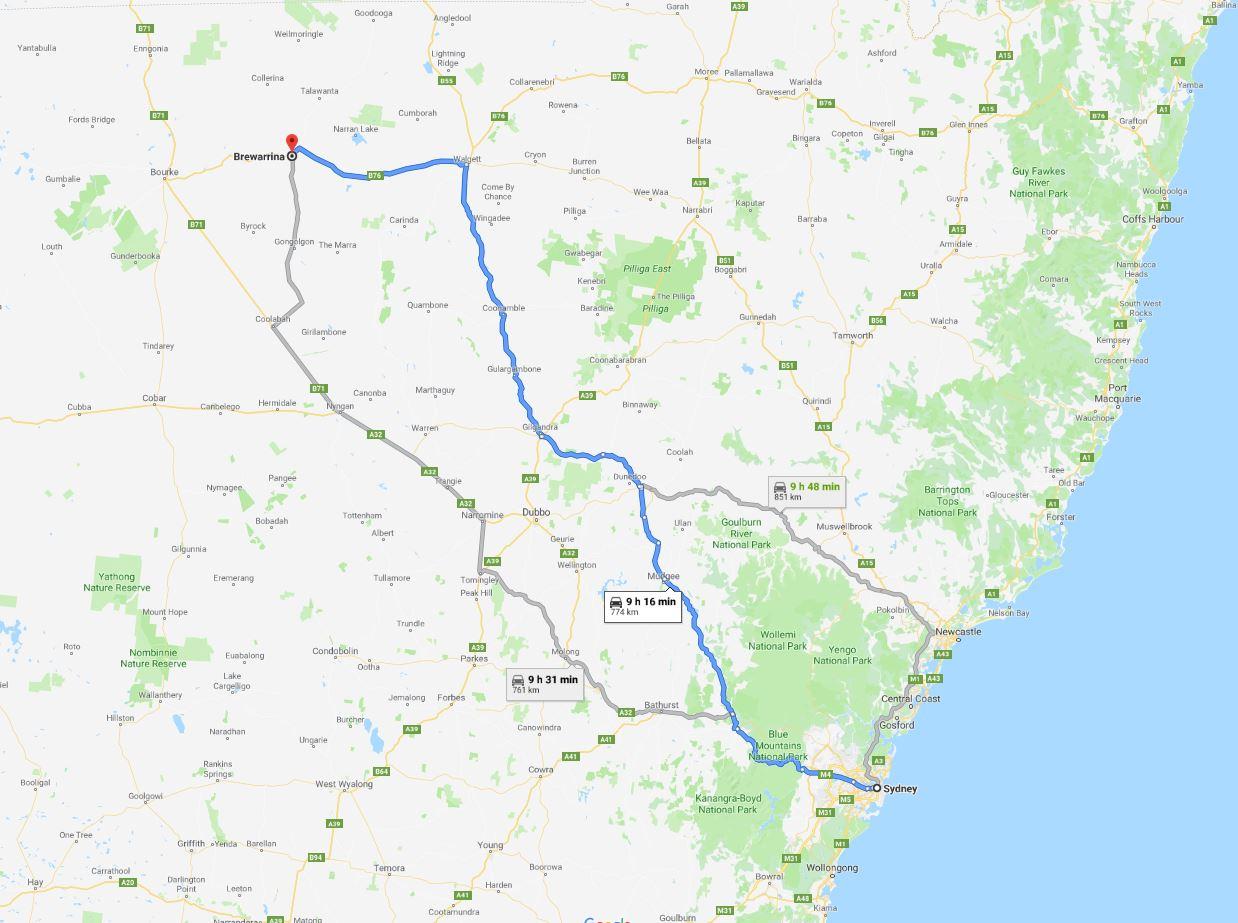 Sydney to Brewarrina map
